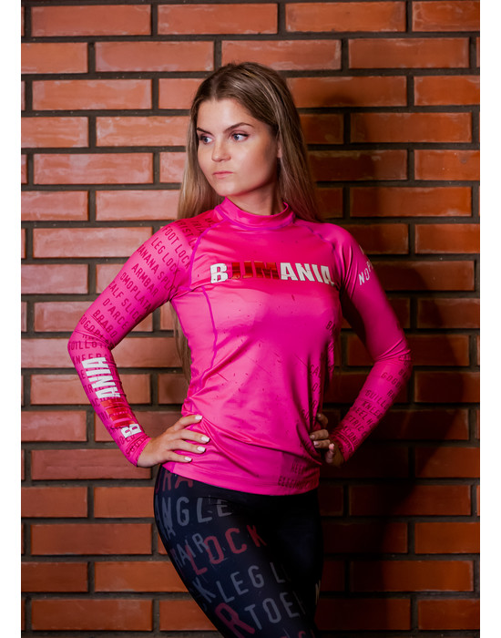 РАШГАРД BJJMANIA (розовый, длинный рукав)