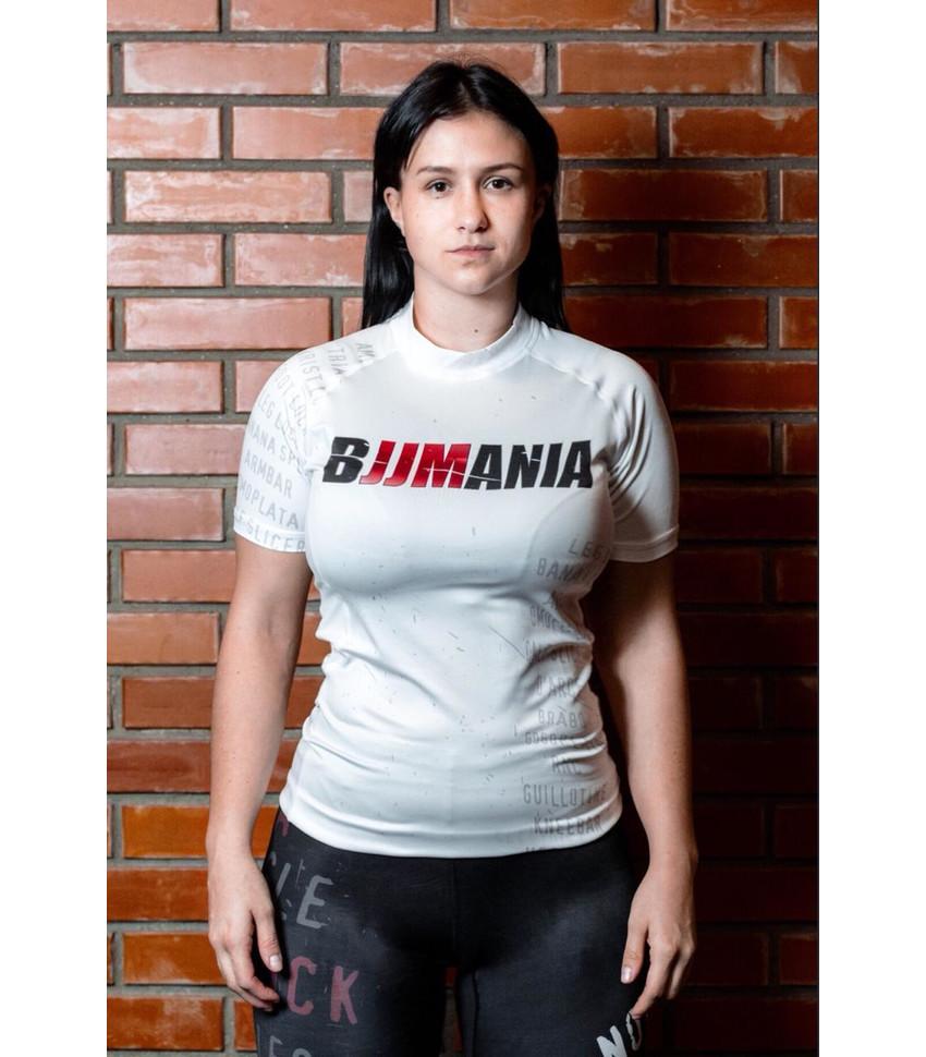 РАШГАРД BJJMANIA (белый, короткий рукав)