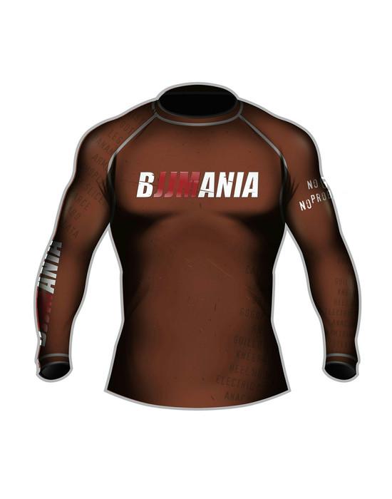 РАШГАРД BJJMANIA (коричневый, длинный рукав)