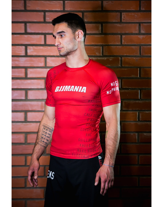 РАШГАРД BJJMANIA (красный, короткий рукав)