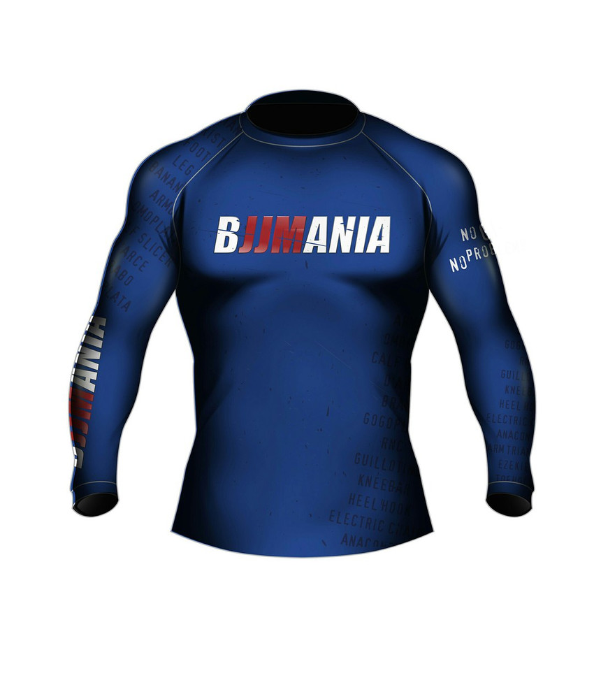 РАШГАРД BJJMANIA (синий, длинный рукав)